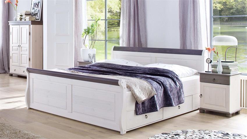 Komfortbett OSLO Bett aus Kiefer massiv weiß lava 140x200 cm