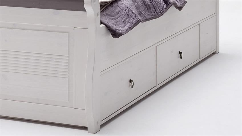 Komfortbett OSLO Bett aus Kiefer massiv weiß lava 180x200 cm