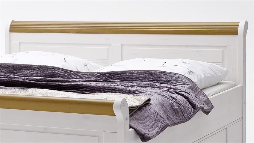 Komfortbett OSLO Bett aus Kiefer massiv weiß antik 140x200cm