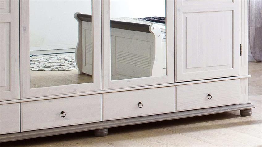 Kleiderschrank OSLO Kiefer massiv weiß lava 4-trg mit Spiegel