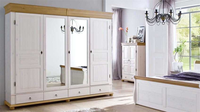 Kleiderschrank OSLO Kiefer massiv weiß antik 4-trg mit Spiegel