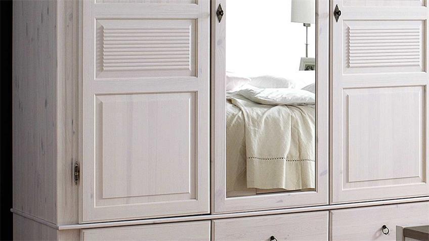 Kleiderschrank OSLO Kiefer massiv weiß lava 3-trg mit Spiegel