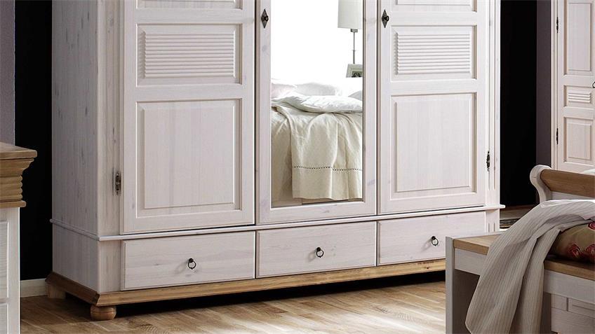 Kleiderschrank OSLO Kiefer massiv weiß antik 3-trg mit Spiegel