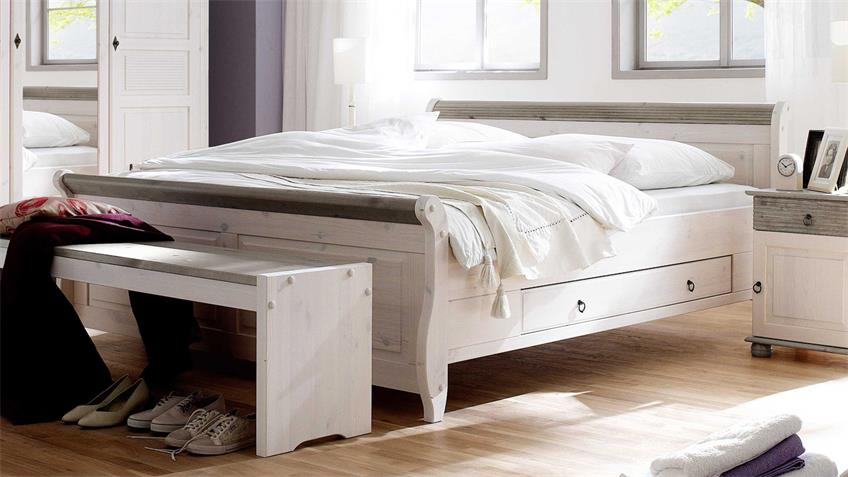 bett oslo doppelbett aus kiefer massiv wei lava 200x200 cm. Black Bedroom Furniture Sets. Home Design Ideas
