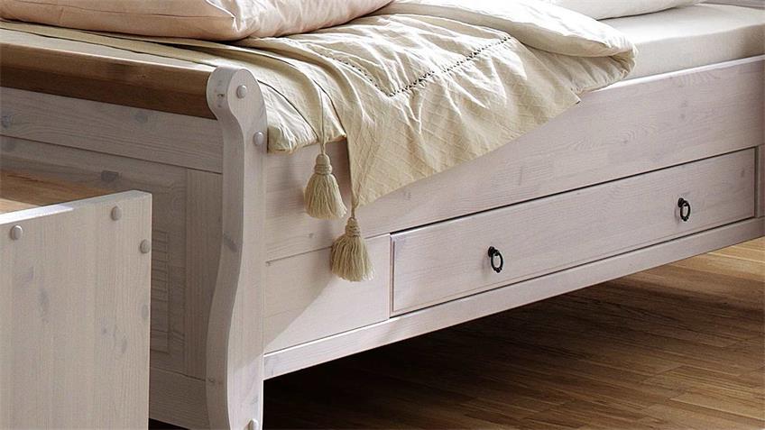 Bett OSLO Einzelbett aus Kiefer massiv weiß antik 140x200 cm