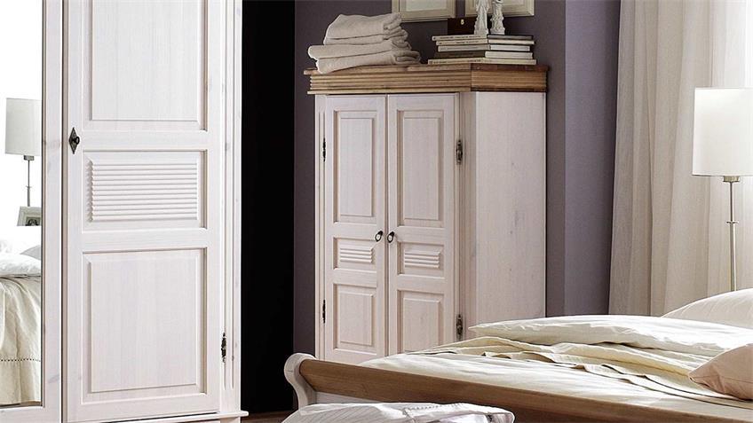 Wäscheschrank OSLO Highboard Kiefer massiv weiß antik 2 trg