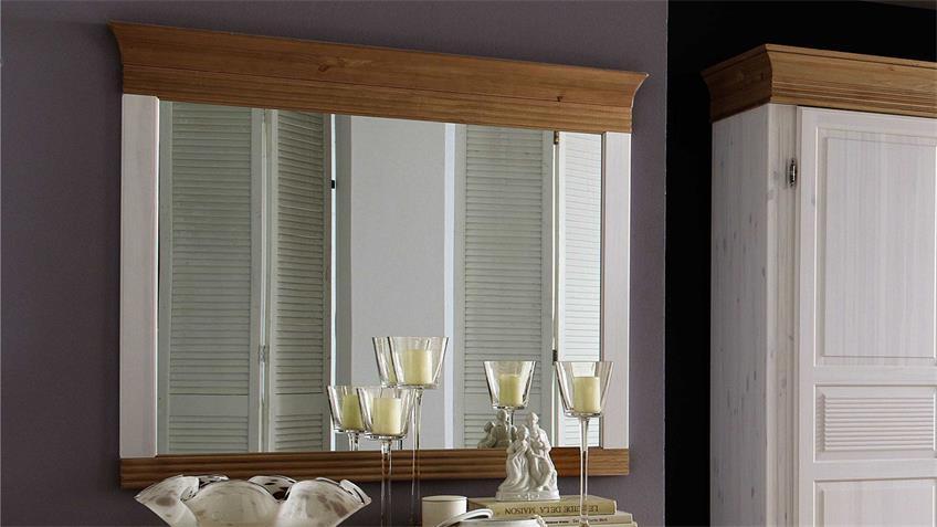 Spiegel OSLO Kiefer massiv weiß und antik 101,3x88 cm