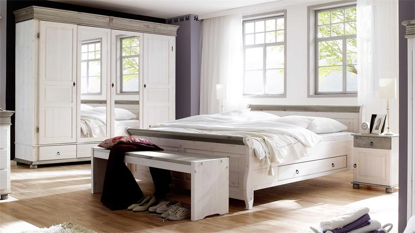 schlafzimmer oslo 4 tlg set kiefer massiv wei lava 180x200. Black Bedroom Furniture Sets. Home Design Ideas
