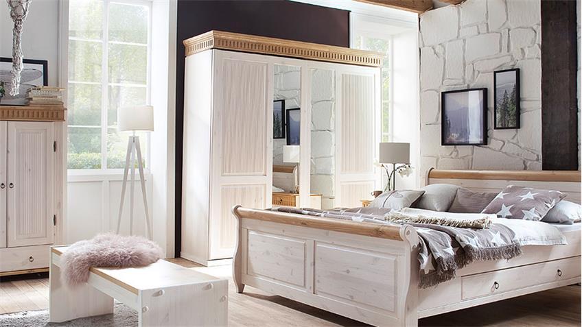 schwebet renschrank helsinki 2 t rig schrank kiefer massiv wei braun. Black Bedroom Furniture Sets. Home Design Ideas