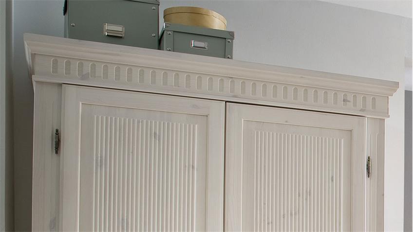 Kleiderschrank HELSINKI Kiefer Massivholz weiß 2-türig