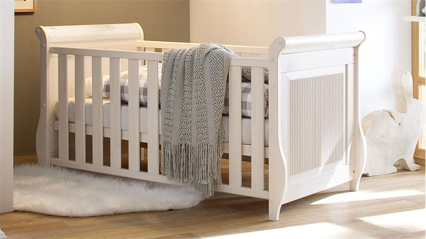 Babyzimmer Set HELSINKI 4-tlg. in Kiefer Massivholz weiß
