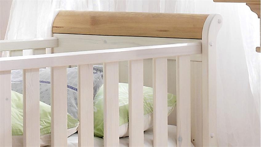 Babybett HELSINKI Kiefer massiv weiß Natur inkl. Lattenrost