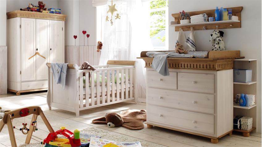 Babyzimmer Set HELSINKI 4-tlg. Kiefer Massivholz weiß Natur