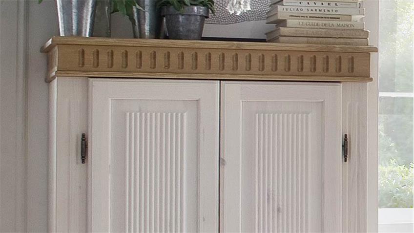 Wäscheschrank HELSINKI in Kiefer Massivholz weiß Natur