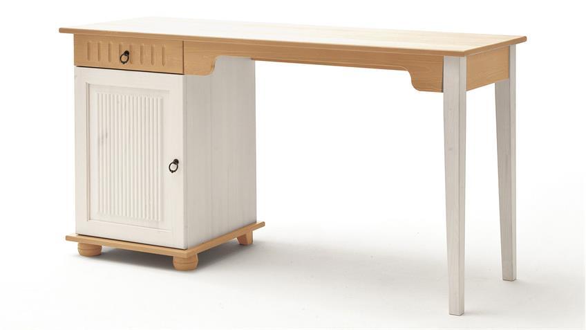 Schreibtisch HELSINKI in Kiefer Massivholz weiß und Natur