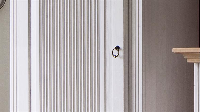Garderobenschrank HELSINKI Kiefer Massivholz weiß Natur