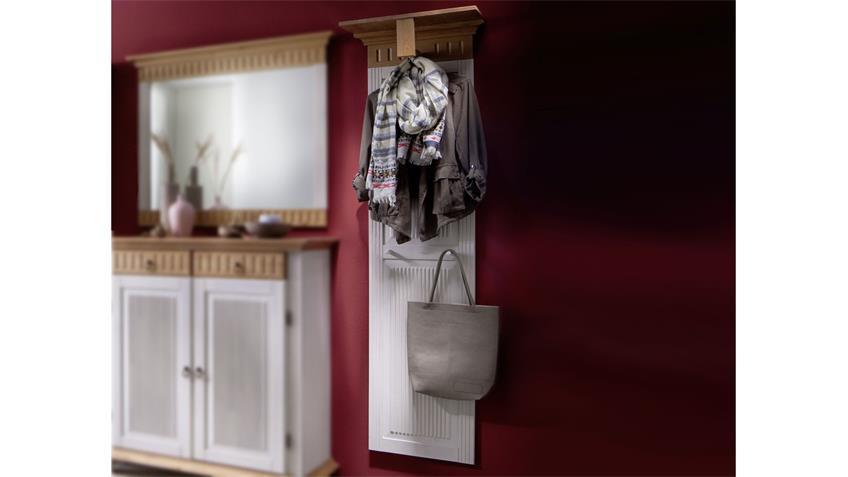 Garderobenpaneel HELSINKI in Kiefer Massivholz weiß Natur
