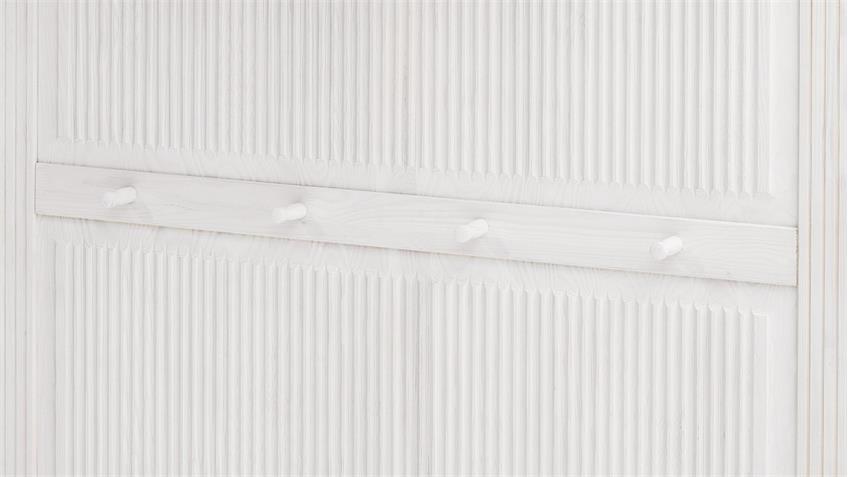 Garderobenpaneel HELSINKI in Kiefer massiv weiß und Natur
