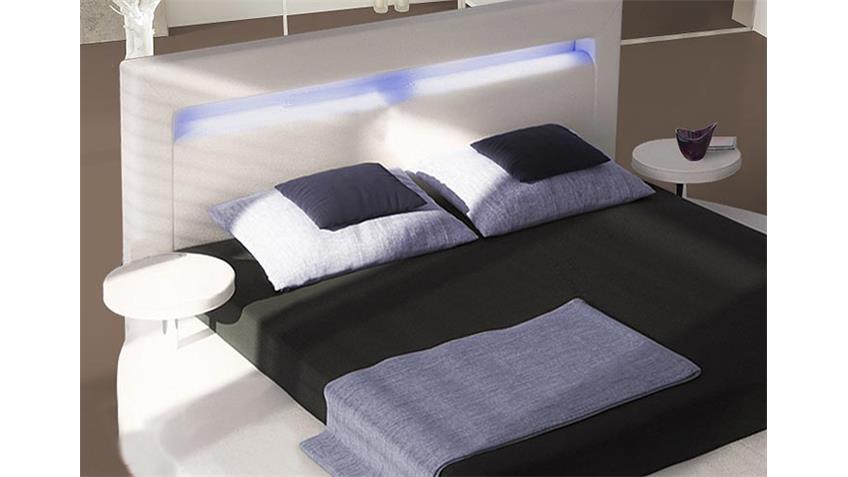 Designer Bett ROUND in weiß inklusive Beleuchtung 180x200