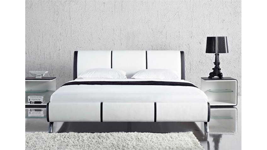 Polsterbett SHOT Designer Bett 180x200 schwarz weiß