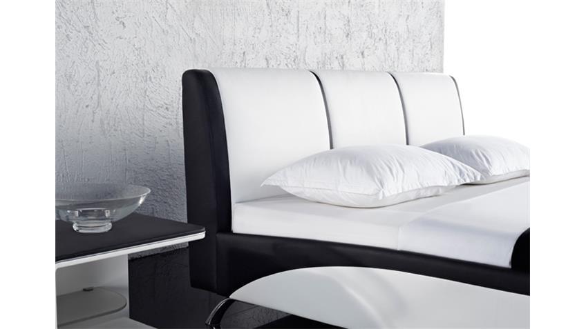 designer polsterbett shot bett 180x200 schwarz wei. Black Bedroom Furniture Sets. Home Design Ideas