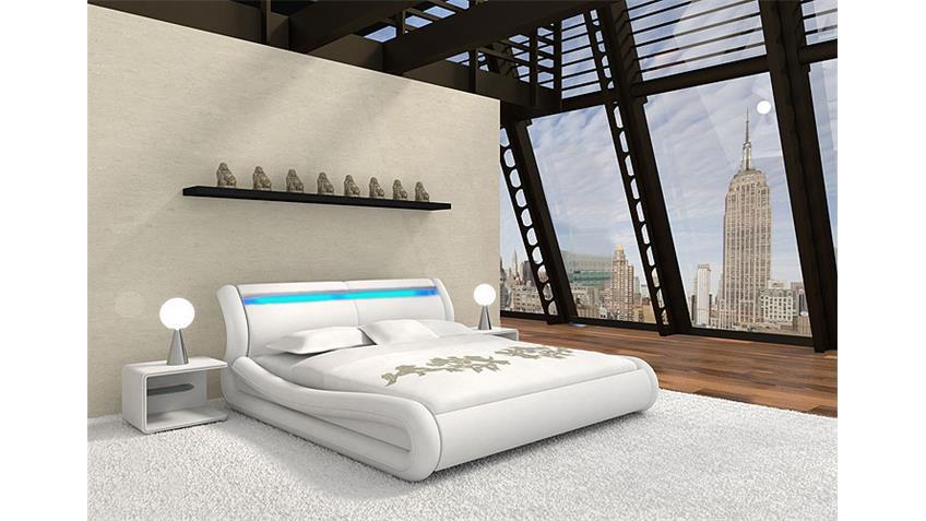 Polsterbett NIOS in weiß Doppelbett 180x200 mit Beleuchtung
