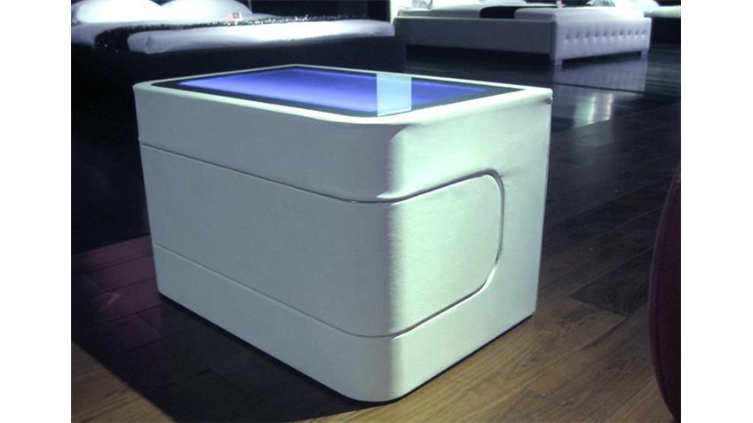 Nachtkonsole NIGHTY Nachtkommode in weiß mit Beleuchtung