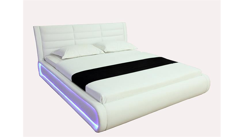 Polsterbett SONIC weiß inkl. LED Lichtrahmen 180x200