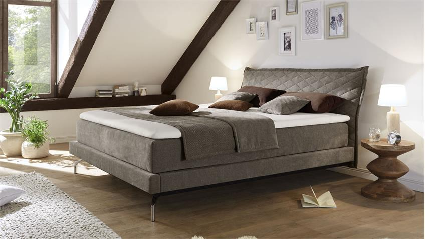 boxspringbett creation stoff taupe mit kopfteil topper 180x200 femira. Black Bedroom Furniture Sets. Home Design Ideas