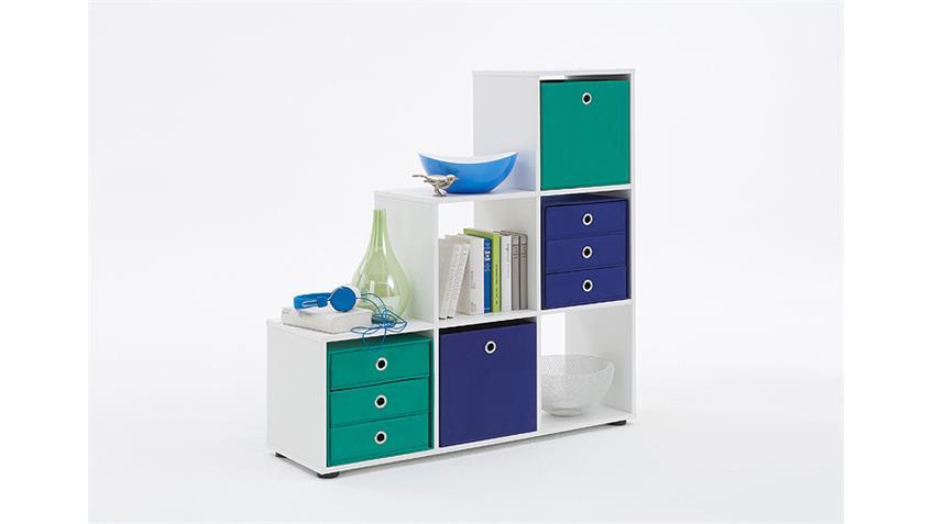 Raumteiler MEGA 1 Bücherregal Regal in weiß Dekor 6 Fächer