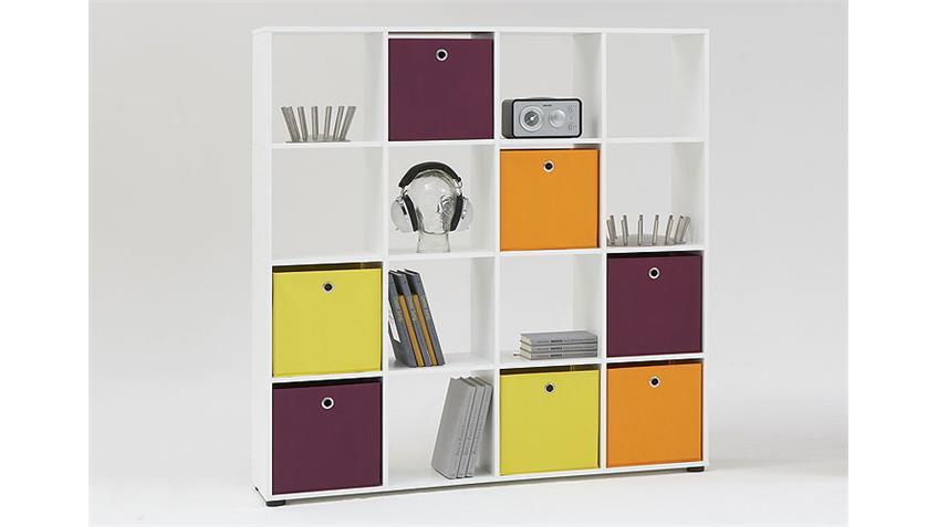 Raumteiler MEGA 6 Bücherregal Regal in weiß Dekor 16 Fächer