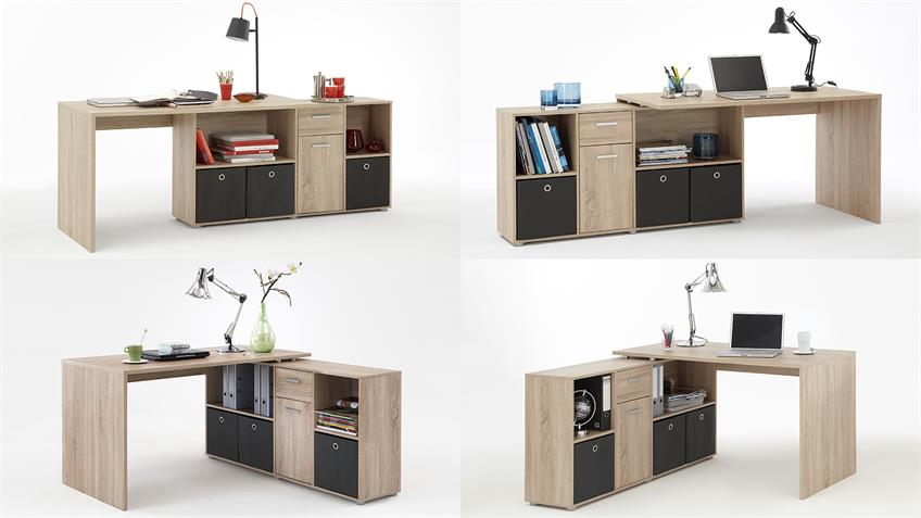 Schreibtisch LEX Tisch Bürotisch in Sonoma Eiche sägerau