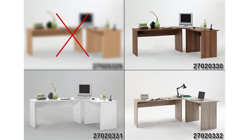 Schreibtisch Kombi TILL PC Tisch Winkelkombination in weiß