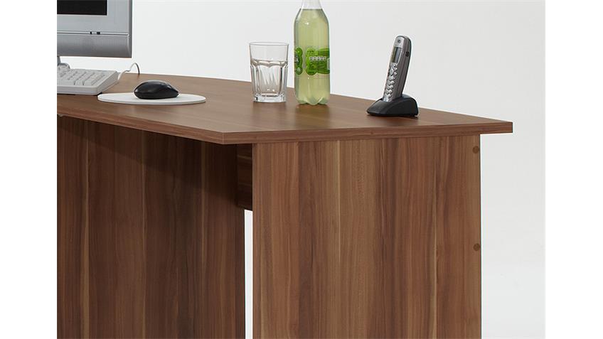 Schreibtisch Kombi TILL PC Tisch Winkelkombination Nussbaum