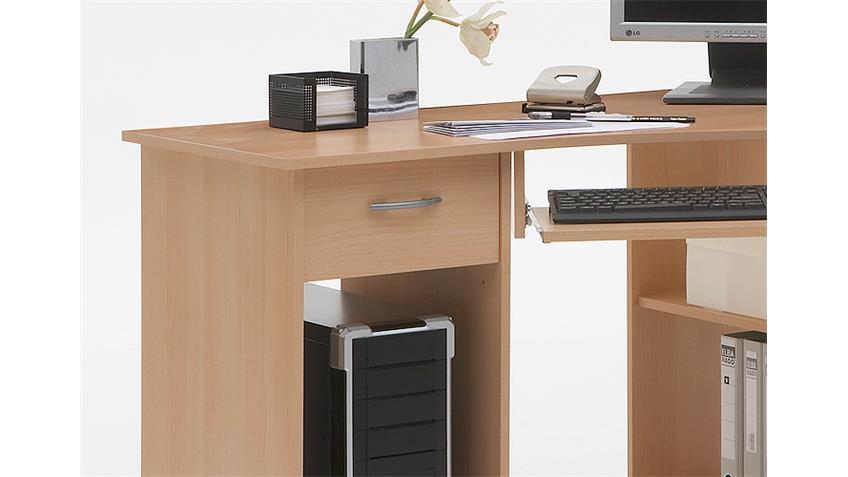 Computertisch FELIX 1 Eck Schreibtisch PC Tisch in Buche