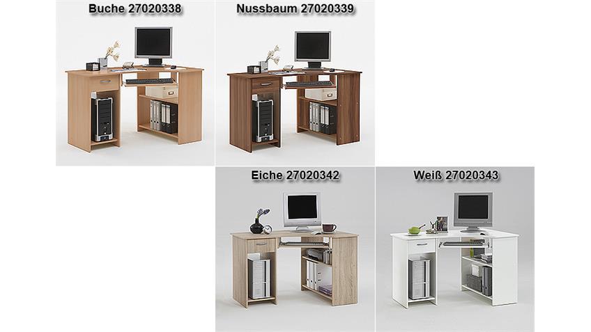 Computertisch FELIX 1 Eck Schreibtisch PC Tisch in Nussbaum