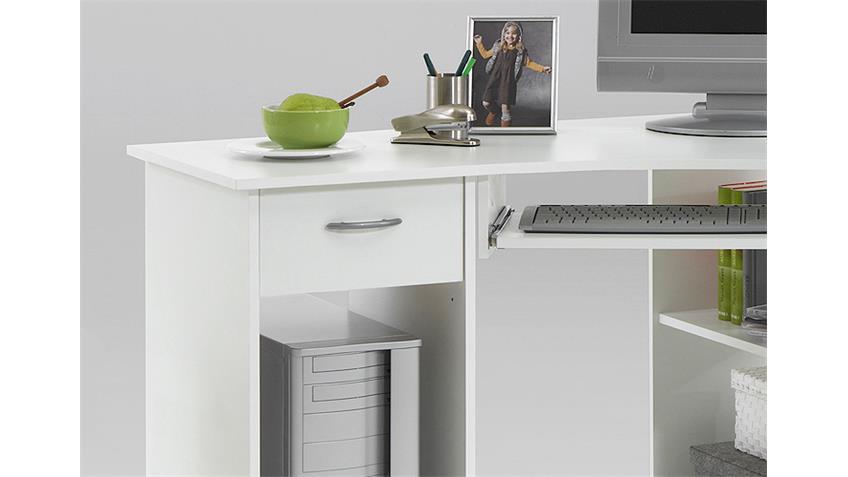 Computertisch FELIX 1 Eck Schreibtisch PC Tisch in weiß