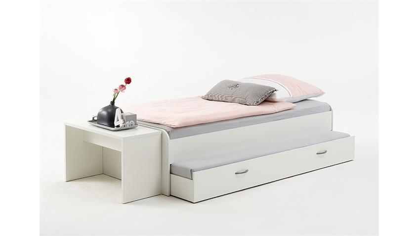 Bett PEDRO 4 90x200 cm weiß ausziehbare Gästeliege