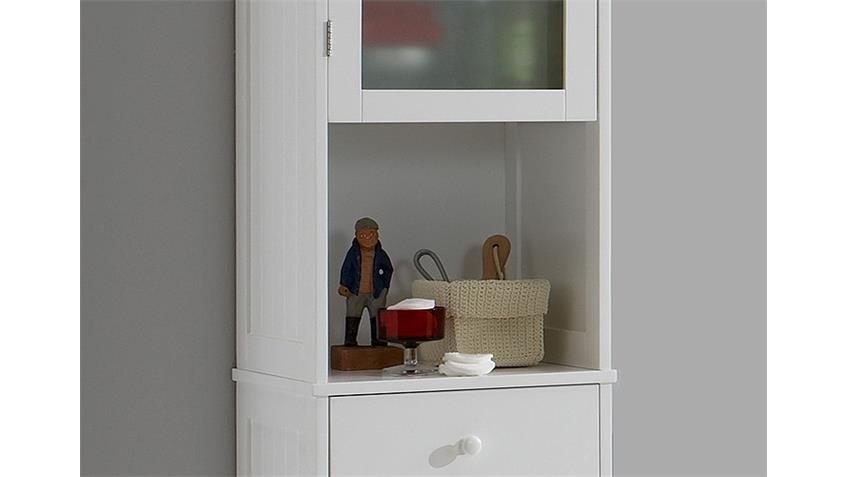 Hochschrank STOCKHOLM Schrank Badezimmer in MDF weiß Lack