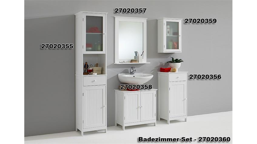 Kommode STOCKHOLM Schrank Badezimmer in weiß Lack 1 Tür
