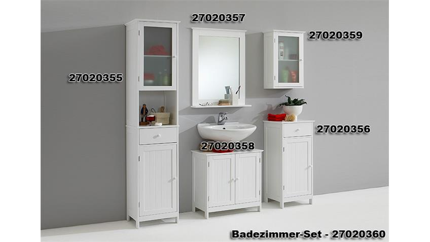 Badezimmer Set STOCKHOLM 5 Teile Badmöbel in weiß Lack