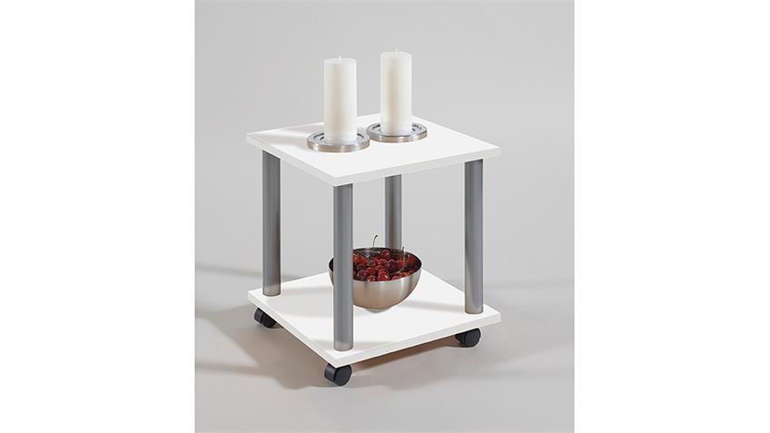 Beistelltisch JANGO 11 Nachtkommode Tisch in weiß Dekor