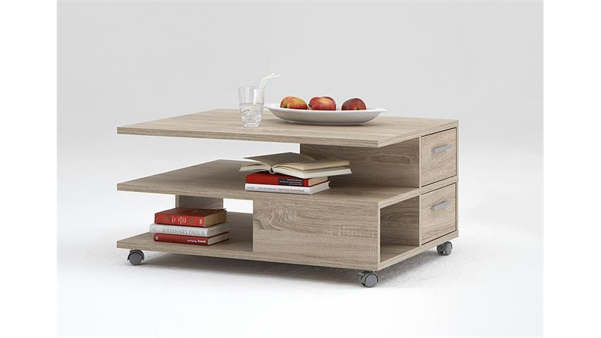 Couchtisch PIA Beistelltisch Tisch Eiche Rollen 90x60 cm