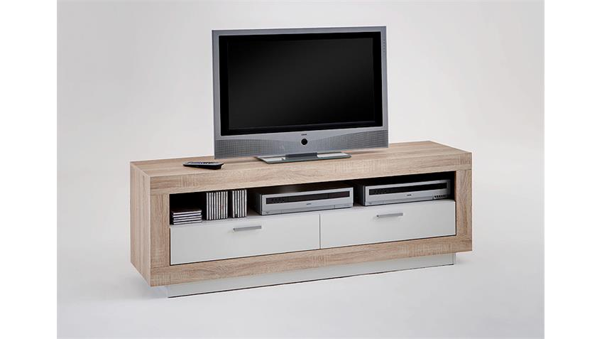 tv board chat lowboard tv kommode in eiche und wei. Black Bedroom Furniture Sets. Home Design Ideas