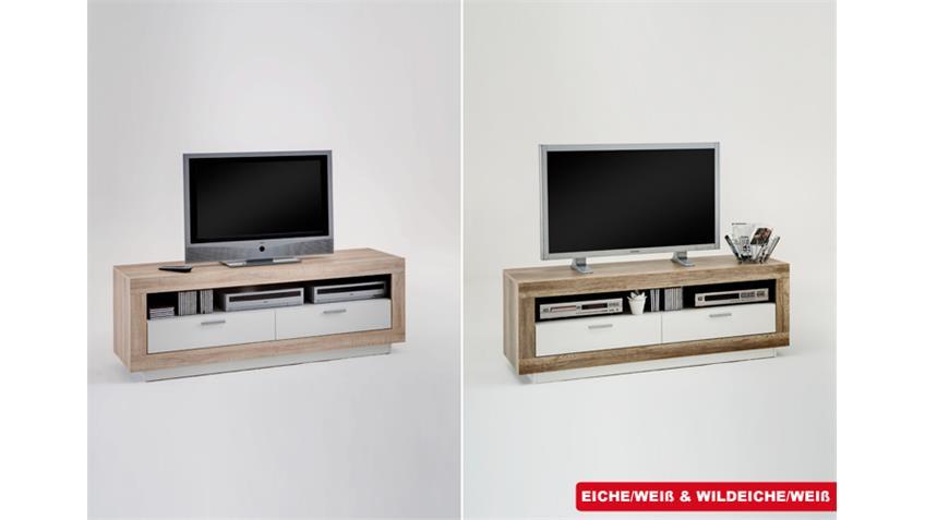 TV Board CHAT Lowboard TV Kommode in Eiche und Weiß