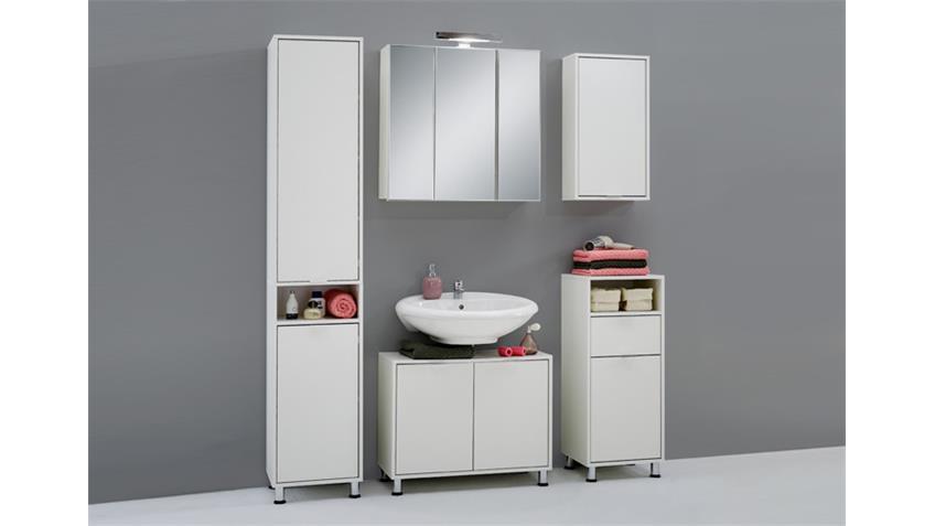 Badezimmerset ZAMORA in weiß und Beleuchtung 5 teilig