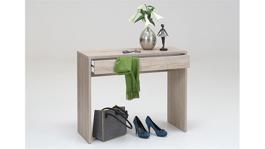 Konsole CHECKER Schreibtisch in Eiche mit 1 Schubkasten