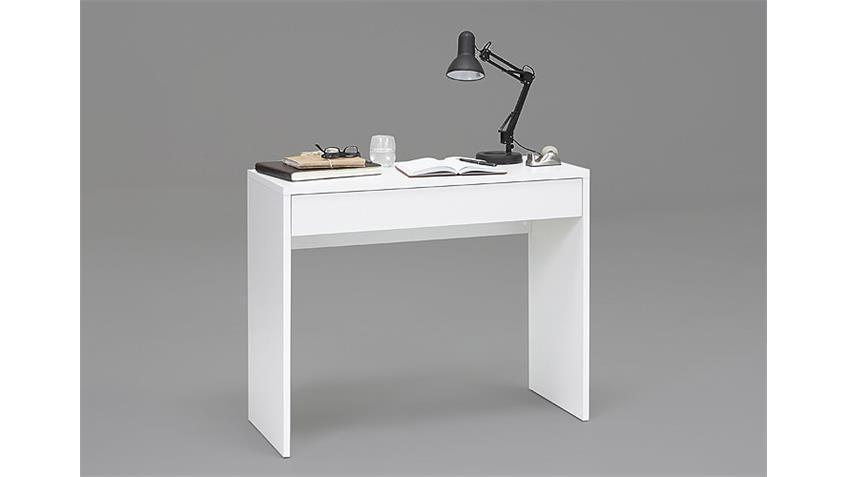 Konsole CHECKER Schreibtisch in Weiß mit 1 Schubkasten