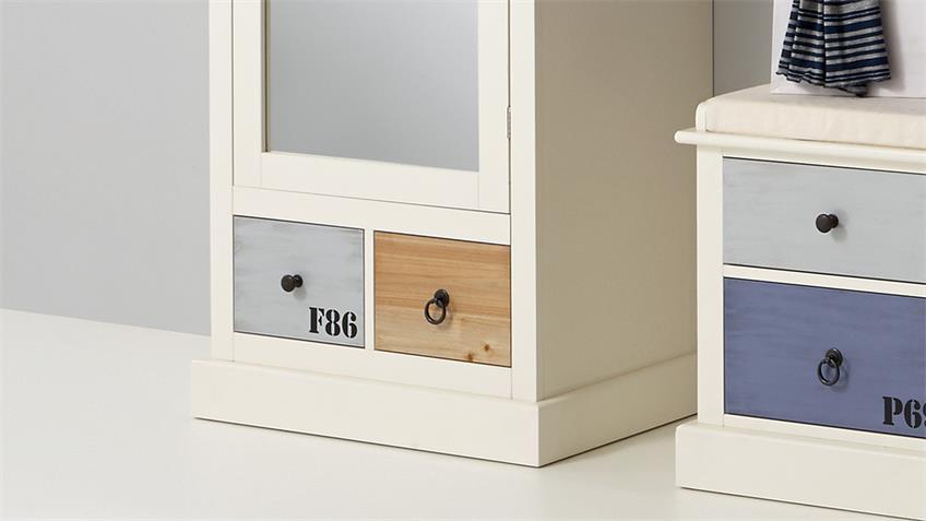 Garderobenschrank SYLT Schrank in MDF weiß bunt lackiert