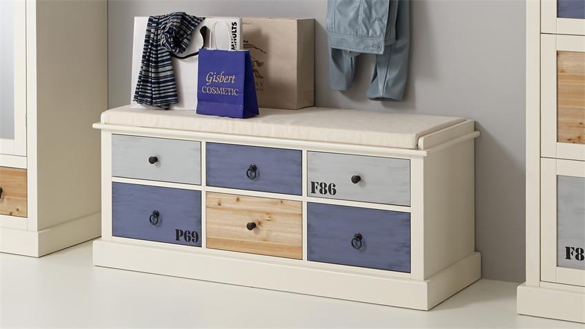 Garderoben-Set SYLT in MDF weiß bunt lackiert 4 teilig